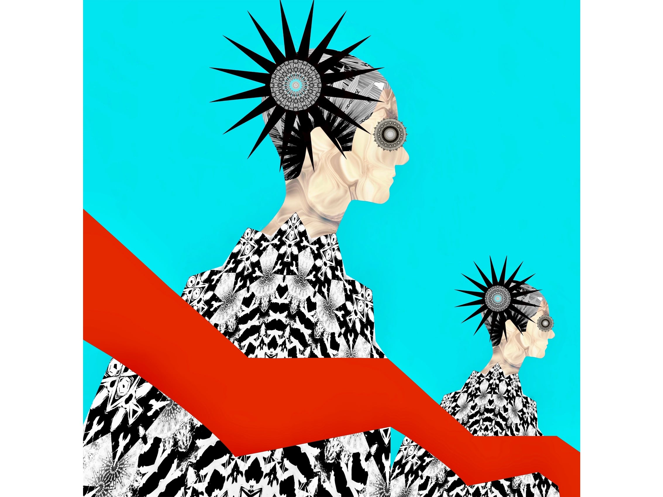 THE LEFT RED OBI<br>Digital Art Print Under Acrylic Glass<br>Print Size : 15'' x 15''